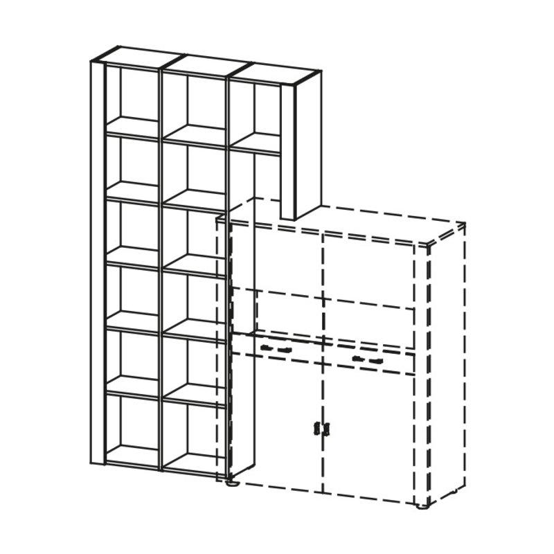 Klassische Wohnwand Schranksystem Wohnzimmer Schrank Regale Regalsystem LU-2L/P