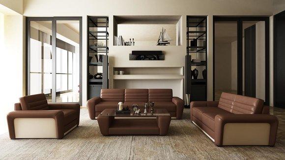 Ledersofa Sofa Couch Polster Sitz Couchen 3+2+1 Komplett ...