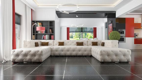 Ledersofa italienisches design  Designer Chesterfield XXL Wohnlandschaft Kristalle Textil Leder ...